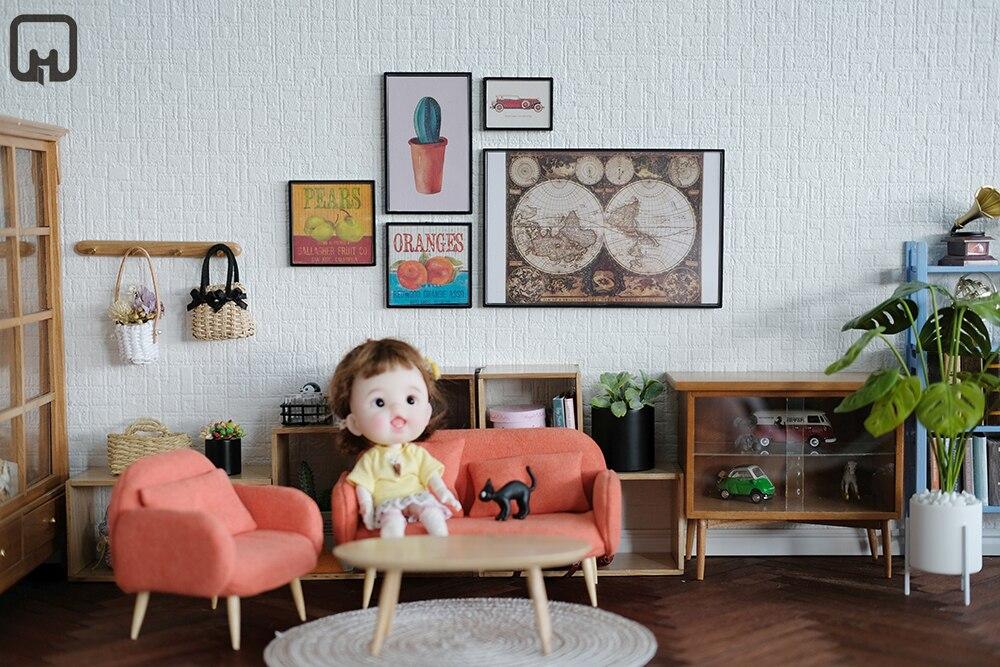 112 dollhouse miniatura niños muebles juguete DIY mini modelo grande mural accesorios mapa patrón sala de estar dollhouse kit Roombox