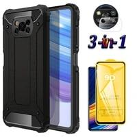 shockproof armor phone cover poco x3 pro case full coverage tempered glass poco x3 nfc case for xiaomi pocox3pro x 3 caseglass