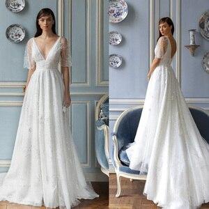 2021 индивидуальный заказ ТРАПЕЦИЕВИДНОЕ свадебное платье es V образным вырезом бисерная аппликация с бисерной вышивкой и кружевами свадебное платье Свадебные платья robes de mariée