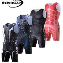 Weimostar Maillot de cyclisme compressé une pièce pour homme Ciclismo vêtements de Triathlon respirants vêtements de sport serrés sans manches