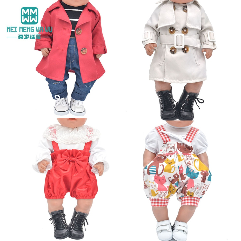 Baby Doll Clothes For 43-45cm Toy New Born Doll and American Doll Coats, skirts, jeans T-shirt Girl'