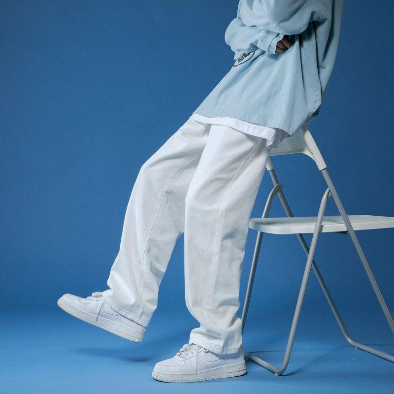 Spring Wide-leg Jeans Men's Fashion Retro Casual Korean Jeans Men Streetwear Loose Hip-hop Straight Denim Trousers Mens