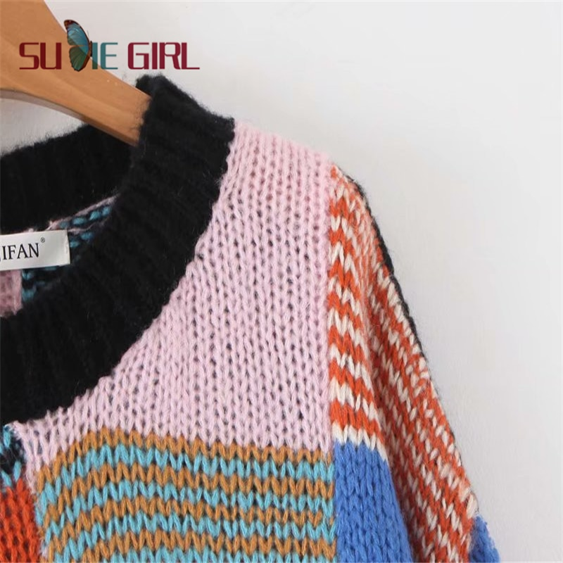 SUDIE Girl Color square stitching knit sweater plaid patchwork round neck loose sweater long sleeve women's sweater