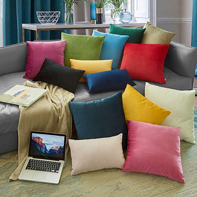 Мягкий Бархатный Чехол для подушки, декоративные подушки, чехол для диванной подушки, однотонный Роскошный домашний декор, подушки для спин...
