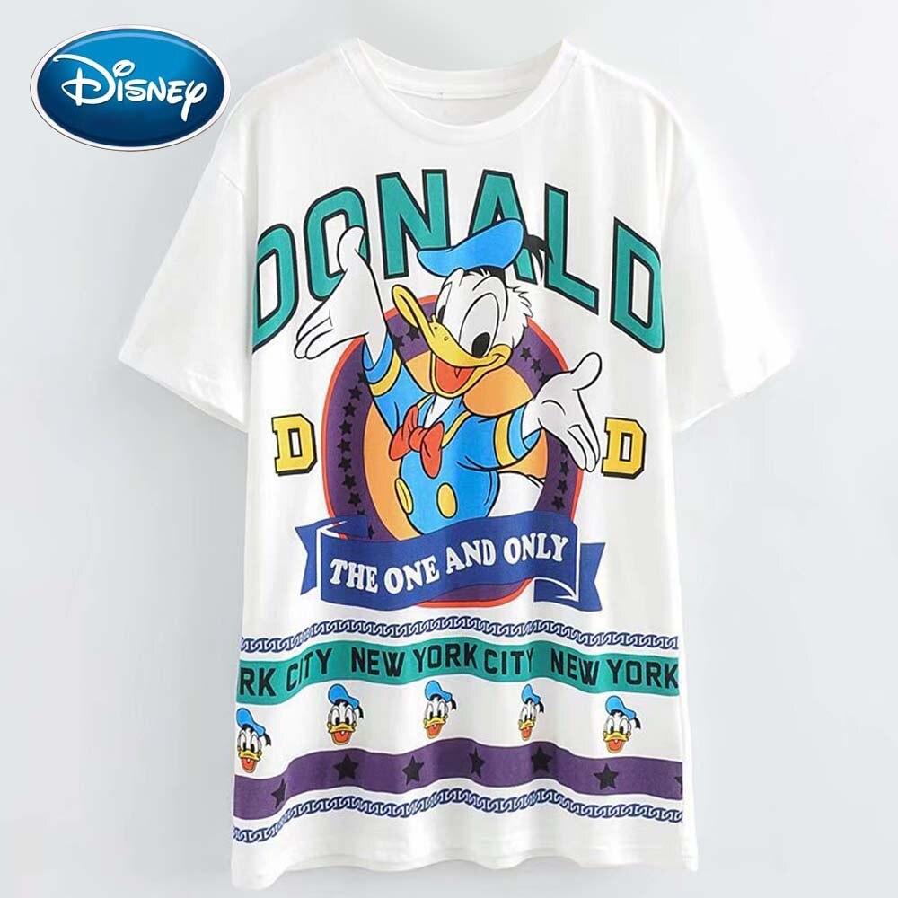 Disney Mode Niedlichen Donald Duck Cartoon Brief Druck Frauen T-Shirt Oansatz Pullover Kurzarm Casual Süße Lose Weiß T Top