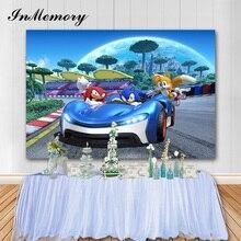 InMemory Vinyl Cartoon fotografia tło Sonic Boy samochód urodziny dzieci tła imprezowe Banner rekwizyty fotograficzne 7x5FT