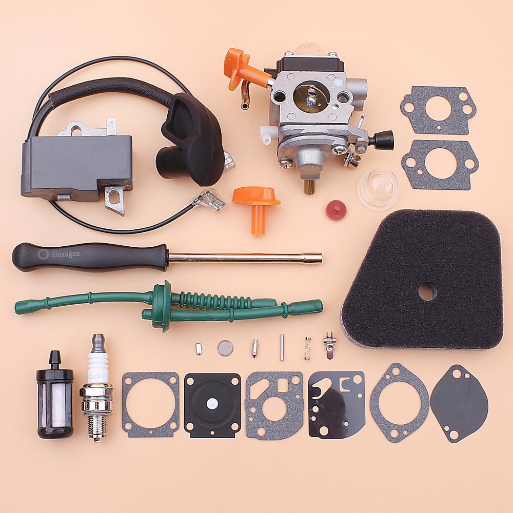 Gaźnika cewka zapłonowa dla Stihl FS87 FS100 HL100 HL95 KM90 KM100 KM130 filtr paliwa linia zestaw wkrętaków do napraw trymer