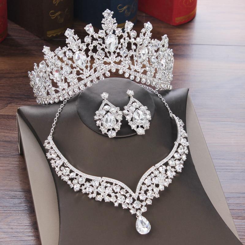 Conjunto de tiara collar y pendientes de botón pendientes de estr para...