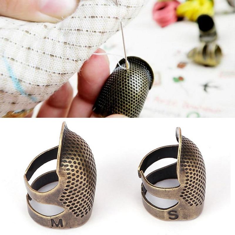 1 pçs costura dedal retro dedo protetor dedo escudo agulhas ferramenta de costura handworking agulha dedal diy ferramentas de costura