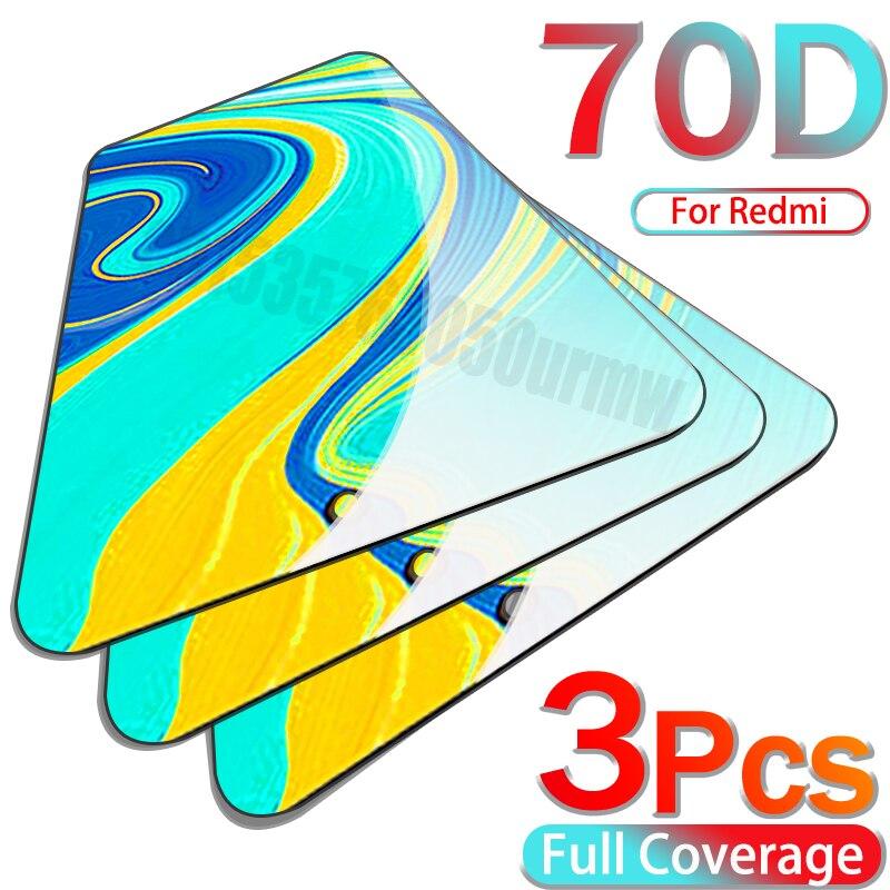 Protector de pantalla de vidrio templado 70D para Xiaomi Redmi Note 9, 8 Pro, 8T, 7, Redmi 9, 9S, 9A, 9C, 8, 10X Pro, K30