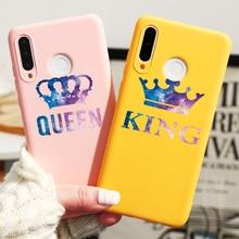 King Queen Couple Case For Huawei P Smart P40 P30 P20 Mate 30 20 10 Lite Pro 2019 Cover nova 3 3i 4 5 5i 6 SE Pro TPU Phone Bag