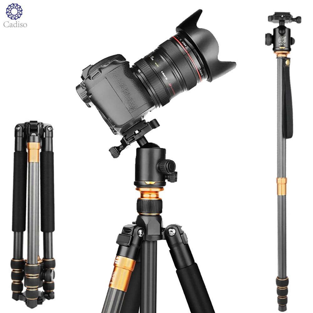 Cadiso QZSD Q999C المهنية صور المحمولة ألياف الكربون ترايبود عدة Monopod الوقوف فوق الكرة رئيس ل DSLR كاميرا الهاتف المحمول