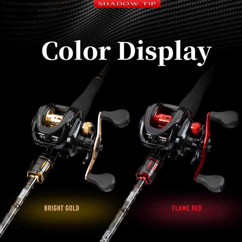 Kingdom Shadow Tip Casting Fishing Rod Combo 2.1m 2.4m Two Section ML/M M/MH Power Two Tips Lightweight Baitcasting Fishing Reel enlarge