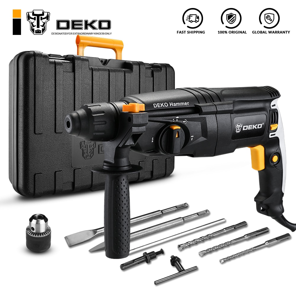 DEKO GJ180/GJ181 220V 26mm 4300/min Impact Rate 4 Functions AC Electric Rotary Hammer Drill with Acc