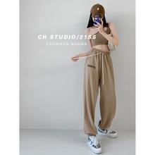 European and American High Street Fashion Brand Printing Sports Pants Female Autumn Leisure