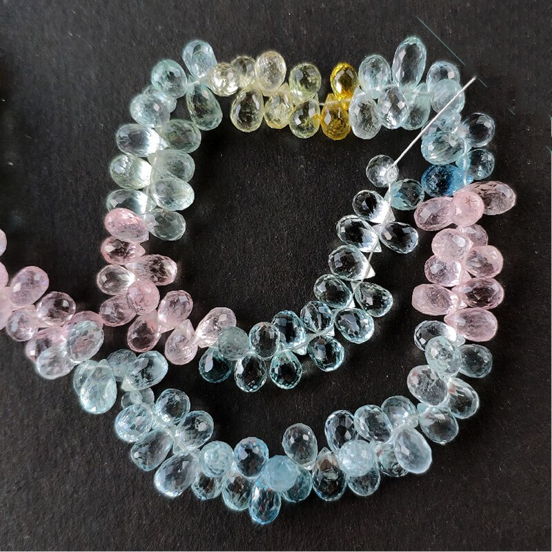 Icnway 20cm natural morganite 6.5-9mm waterdrop facetado contas para fazer jóias colar brinco pulseira