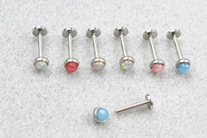 50pcs Body Jewelry 16G Internally threaded  Lip Morne Rings Earrings Stud Resin Opal Cartilage Helix Tragus  Body Piercing NEW