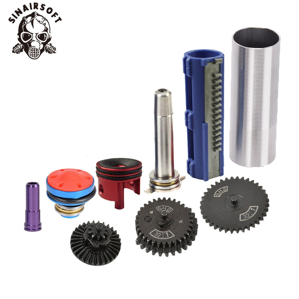 SINAIRSOFT Unlimited Torque 32:1 Gear Nozzle Cylinder Spring Guide 14 Teeth Piston Kit Fit AK MP5 M4 G36 For Airsoft Paintball