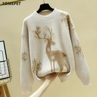 new winter fashion sweater deer snowflake christmas sweater women coat long wool knitted korean loose womens pullover sweaters