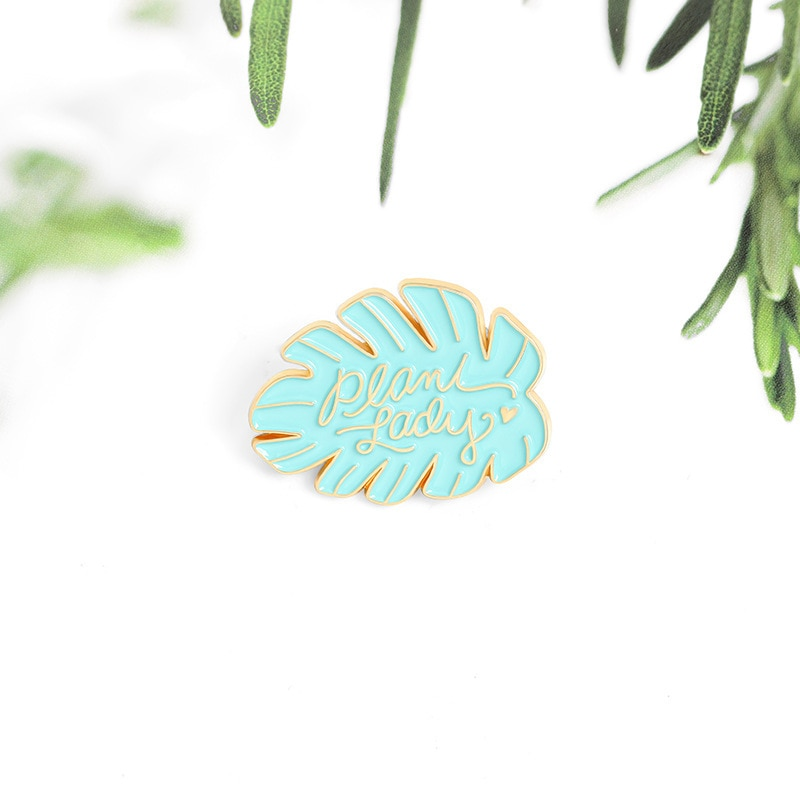 Creative cartoon plant potted leaf brooch brooch jewelry personality letter badge Deliciosa Leaf Collar Pin Fashion Jewelry  - buy with discount