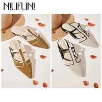 niufuni flat pointed linen womens slippers hollow buckle slides slip on muller shoes summer retro casual women shoes lazy shoes