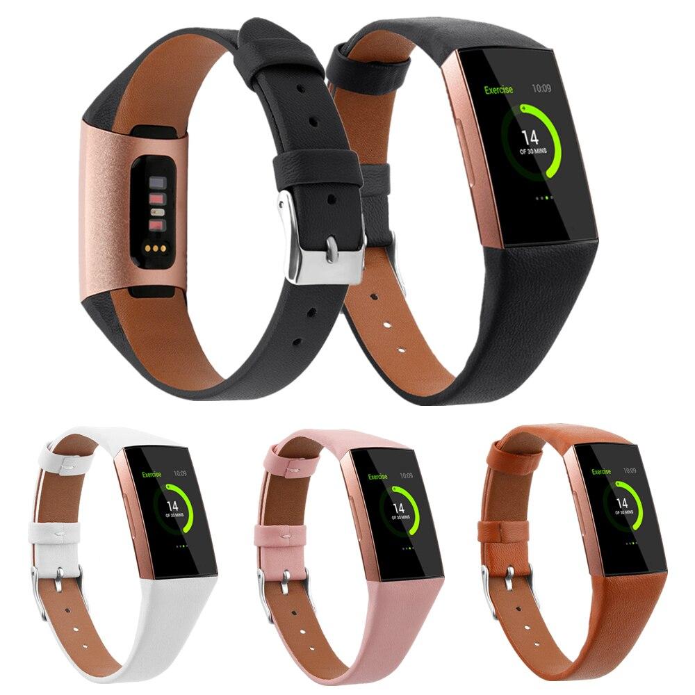 Correa de cuero para Fitbit Charge 3 4 pulsera inteligente correa de repuesto para pulsera para Fitbit Charge 4 3 Accesorios inteligentes