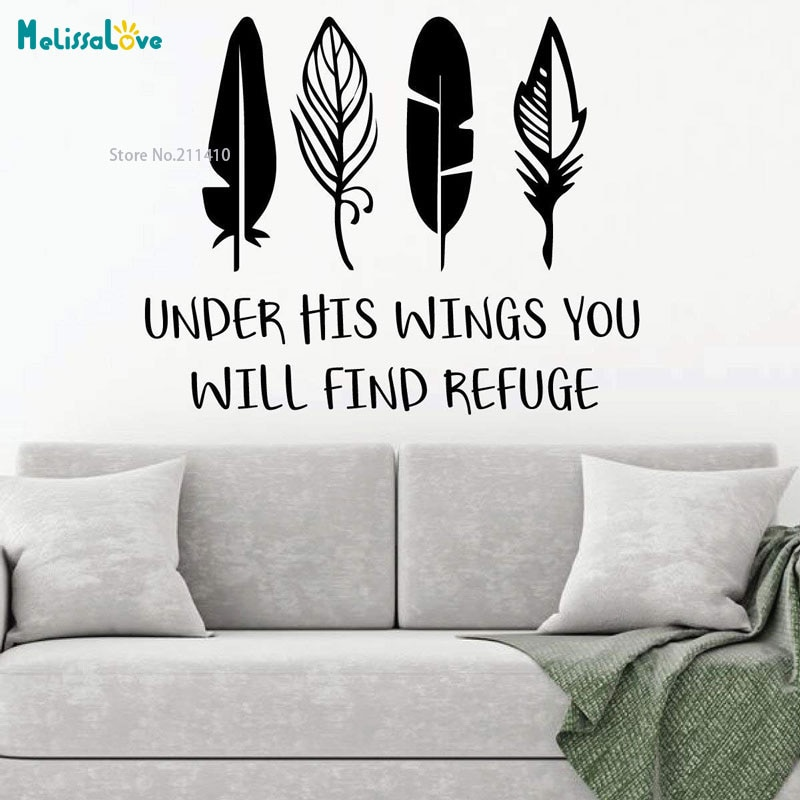 Under His Wings You Will Find Refuge Wall Sticker Removable Word Murals Interesting New Design Vinyl Decals Removable YT3320
