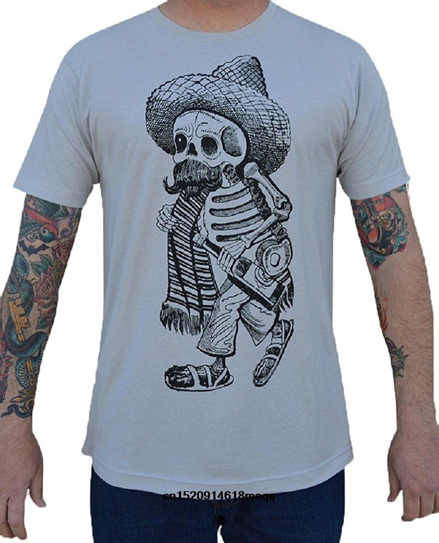 Camisetas divertidas para hombre Borracho Cowboy esqueleto mexicano Sombrero tatuaje camiseta