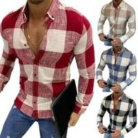 men slim plaid shirt summer autume long sleeve blouses male fashion business casual tops plus size 3xl