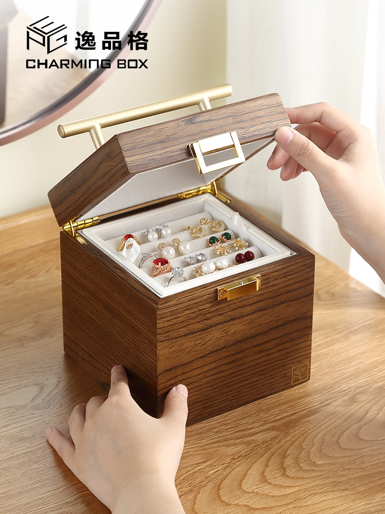 Three Inner Disc Jewelry Box Wooden Chinese Style High-end Earrings Earrings Necklace Jewelry Large Capacity Storage Box