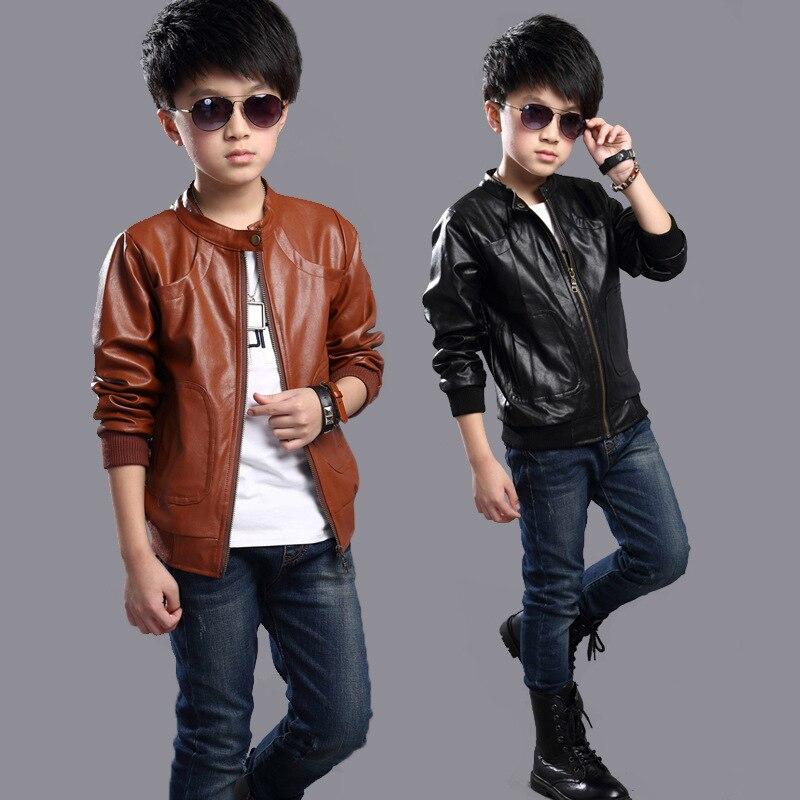 Boys PU Jacket Coat Fashion Children Leather Jacket Teenager Boys Jacket Outwear Spring Autumn Boys Clothes 4 6 8 10 12 15 Years