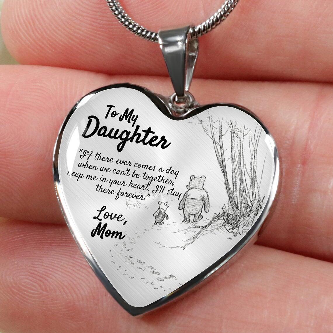 A minha filha coração colar coração pingente neckchain urso colar presentes para a filha do amor mãe pai presente de aniversário jóias