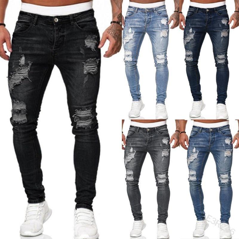 Мужские брюки в стиле панк, черные зауженные брюки с дырками, повседневные брюки в байкерском стиле, лето-осень 2021