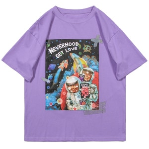 LACIBLE T-Shirts Harajuku Hip Hop Cartoon Astronaut Universe Print Short Sleeve Tshirts Streetwear Men Fashion Cotton Tees Tops