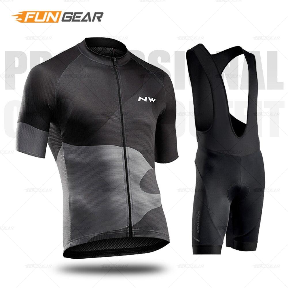 Homens Roupas de ciclismo Northwave Bicicleta Conjunto Jersey Pro Team Men Manga Curta Uniforme Kit MTB Respirável Bicicleta Desgaste Bib terno