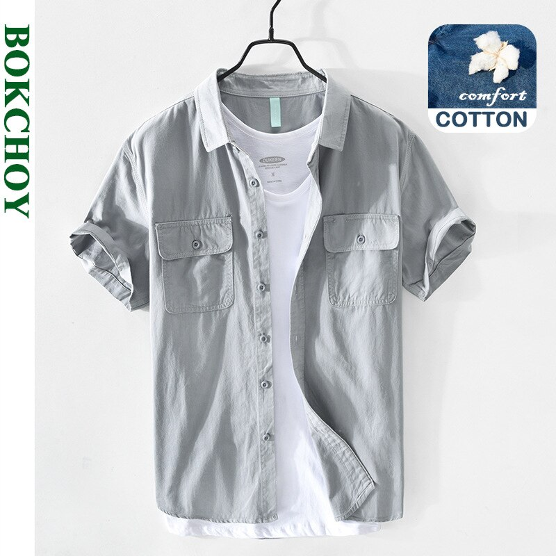 2021 الربيع و الصيف جديد الرجال القطن عادية قصيرة الأكمام قميص أبيض أخضر سفاري نمط GA-Z151