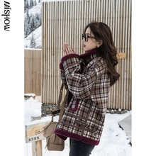 CMAZ 2020 Winter Parkas For Women Plaid Tops Thickening Outdoor Clothing Vintage Short Overcoat Fema