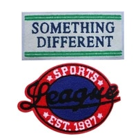sports decorative patch slogan rectangle letters icon towel embroidered applique patches for diy iron on badges on clothes