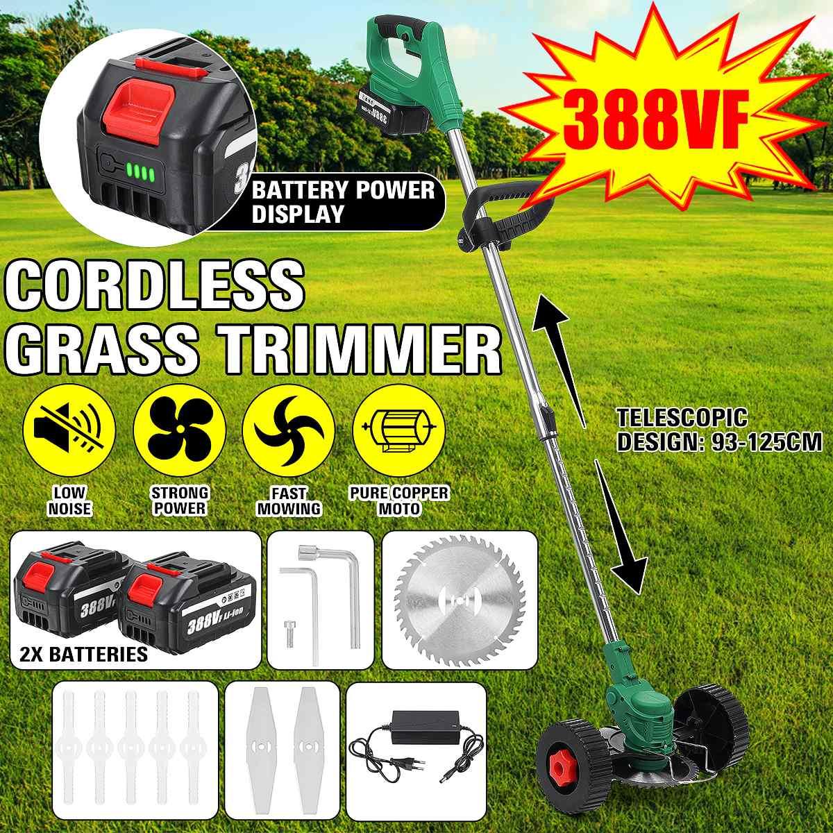 388Vf 15000mAh اللاسلكي الكهربائية العشب المتقلب عجلة مزدوجة قابل للتعديل جزازة العشب حديقة التقليم القاطع أداة + 2 بطارية ماكيتا