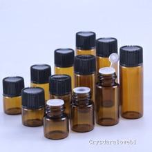 Petite bouteille dhuile essentielle ambre de 100 pièces   Avec couvercle en plastique, bouteille en verre, Mini flacons en verre brun, Mini récipient en verre