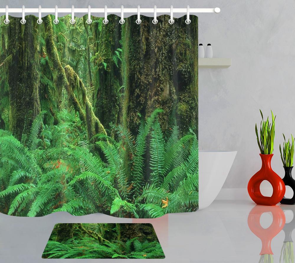 Cortinas de ducha de paisaje de plantas de selva Tropical, cortina de baño de tela impermeable, alfombrilla para puerta de baño, cortinas para bañera