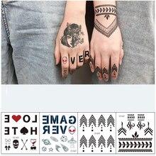 Tatouage à la main Art imperméable à leau tatouages temporaires pour hommes lettres motif de doigt autocollants de sexe Cool trucs transfert autocollant Mini Kit