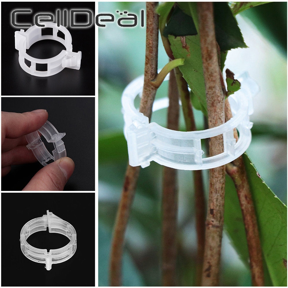 50 / 100bucuri cleme din plastic reutilizabile pentru plante, conectează instrumentul de fixare a grefei de protecție pentru grădinărit pentru tomate vegetale