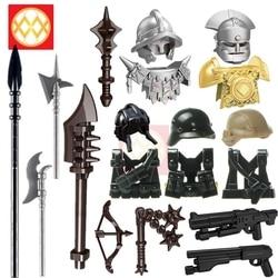 1 conjunto de armas escudo medieval cavaleiro castelo espada lança machado militar ww2 soldado acessórios blocos de construção brinquedos para crianças