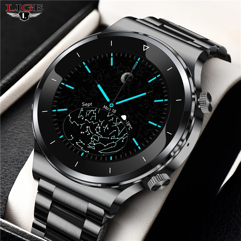 LIGE 2021 New Luxury brand mens watches Steel band Fitness watch Heart rate blood pressure Activity
