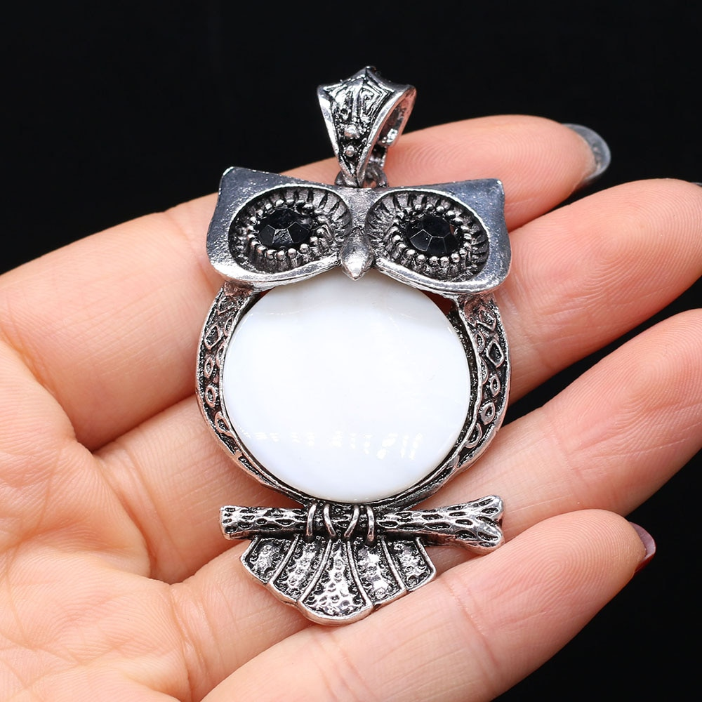 Fashion Natural Stone Agates Shell Pendant Owl Alloy Charms for Women Jewelry Making DIY Necklace Accessories Size 30x55mm  - buy with discount