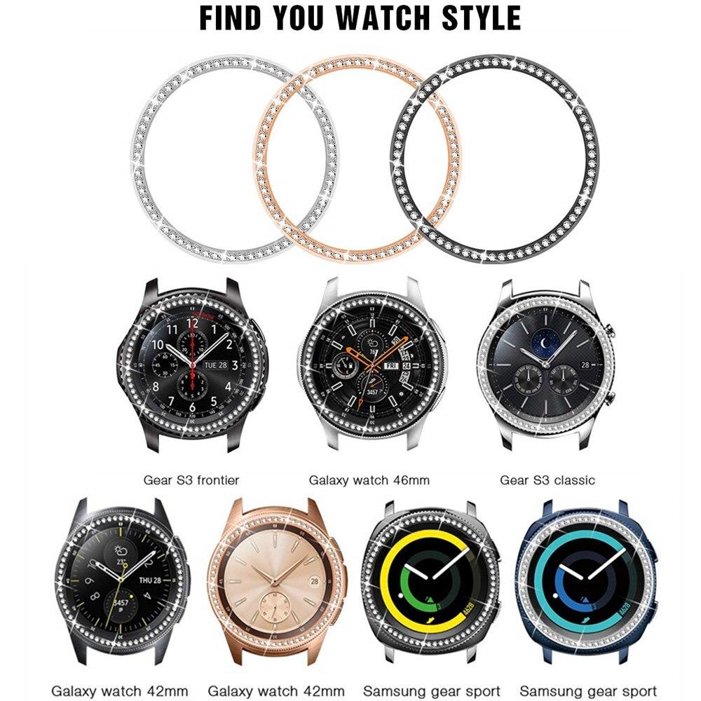 Bisel brillante para Samsung Galaxy Watch, 46mm, 42mm gear s3, cubierta adhesiva...