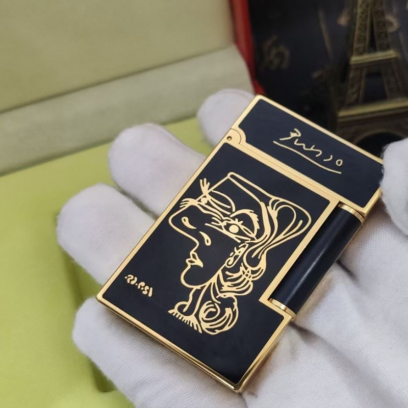 100% new vintage dupont gas lighter gas cigarette lighter polished jet gasoline flint lighter metal gas lighter