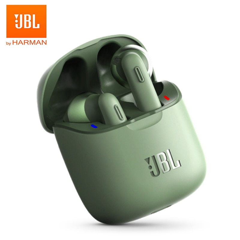 JBL-سماعات أذن بلوتوث ، T220TWS ، صوت ستيريو, سماعة رأس مع حافظة شحن