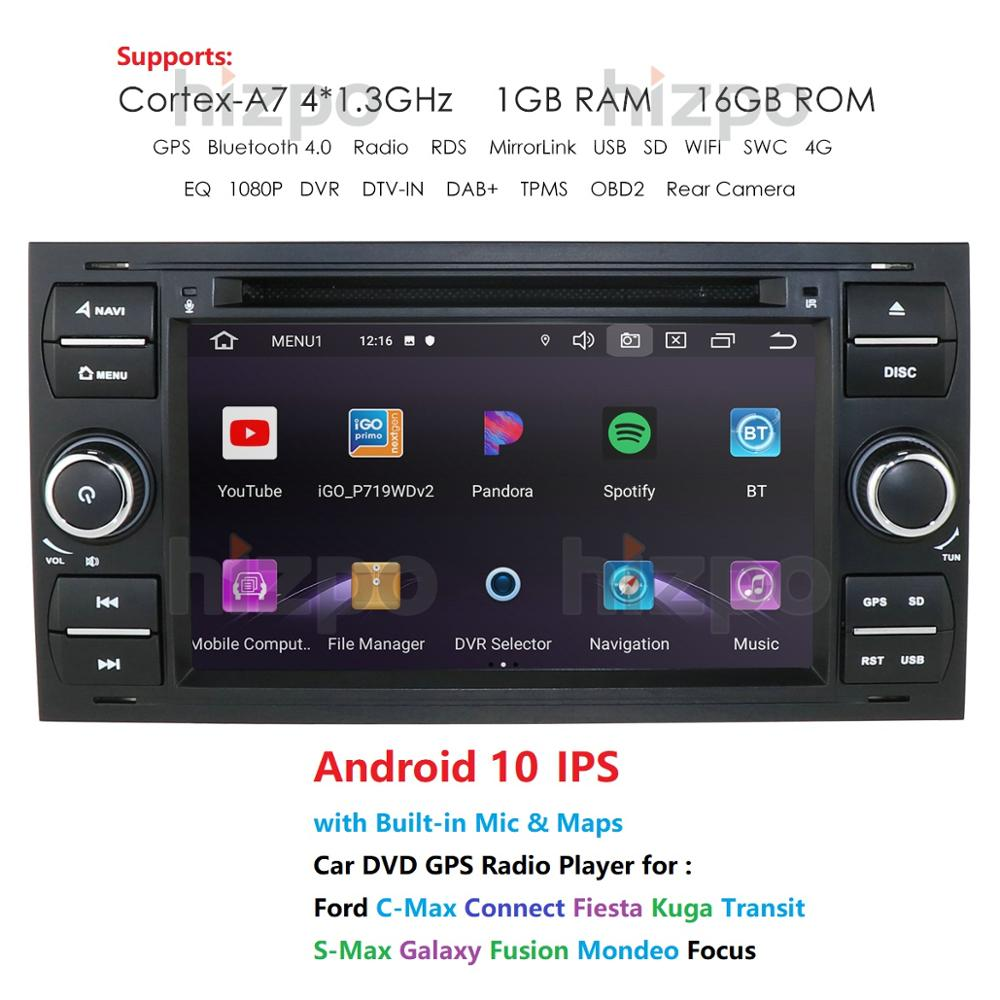 "1024*600 Quad Core Android 10 GPS DVD de coche para FORDFOCUS C-MAX reproductor de DVD del coche 7 ""Pantalla táctil IPS 2Din coche Multimedia RDS DVR"